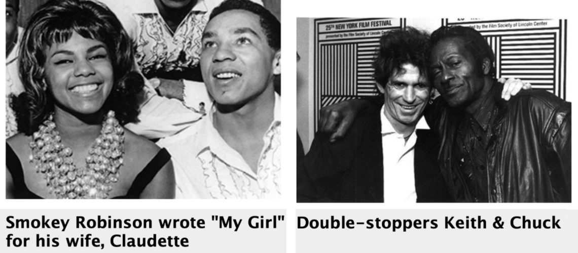 smokey robinson my girl, keith richards, chuck berry double-stoppers